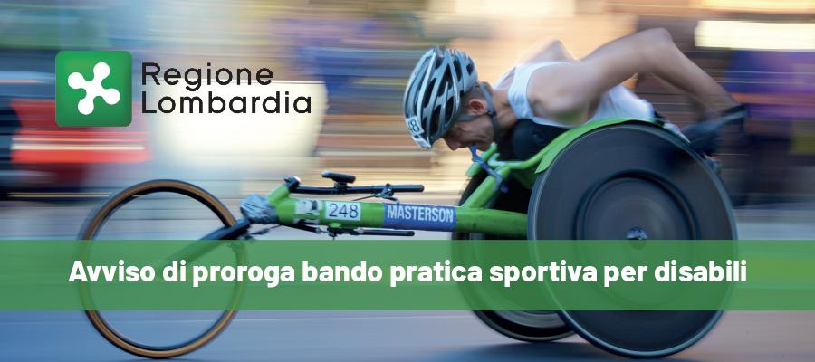 Regione Lombardia: avviso di proroga bando pratica sportiva per disabili