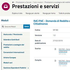 Reddito di Cittadinanza, disponibile il modulo INPS