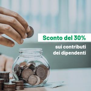 Sconto del  30% sui contributi dei dipendenti